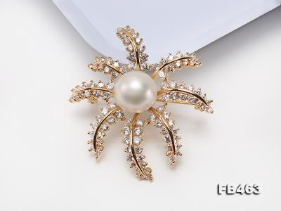 Lustrous 12.5mm White Round Edison Pearl Brooch/Pendant  FB463 Image 3
