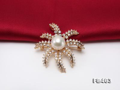 Lustrous 12.5mm White Round Edison Pearl Brooch/Pendant  FB463 Image 5