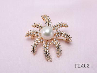 Lustrous 12.5mm White Round Edison Pearl Brooch/Pendant  FB463 Image 7