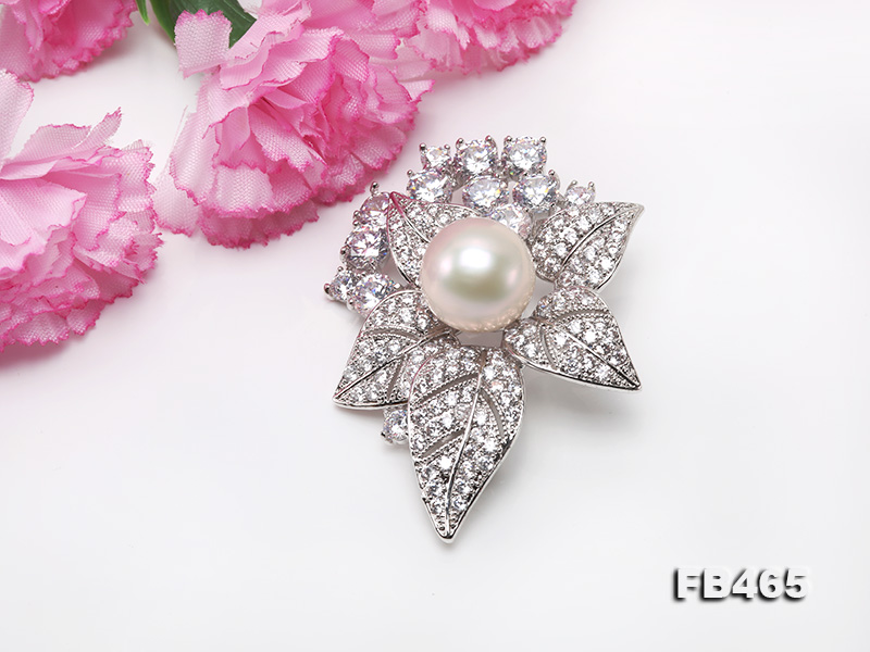 Lustrous 14.5mm White Round Edison Pearl Brooch/Pendant  big Image 4