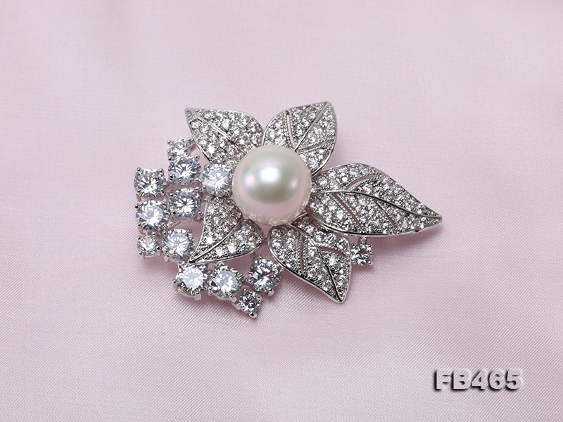 Lustrous 14.5mm White Round Edison Pearl Brooch/Pendant  big Image 5