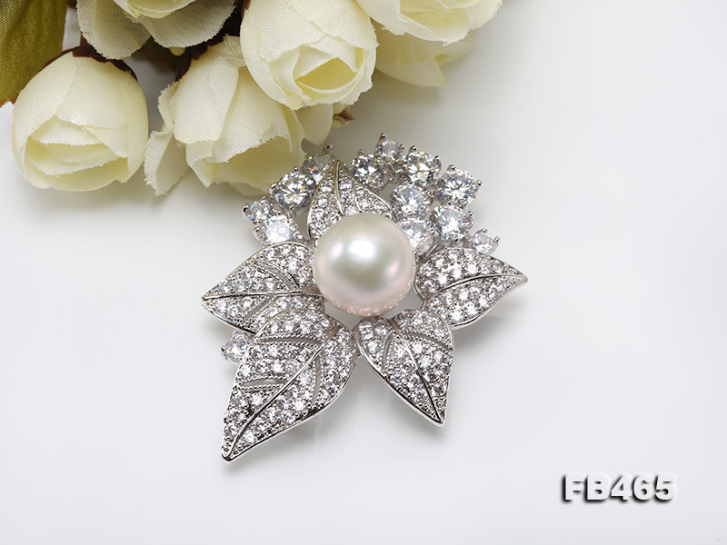 Lustrous 14.5mm White Round Edison Pearl Brooch/Pendant  big Image 6
