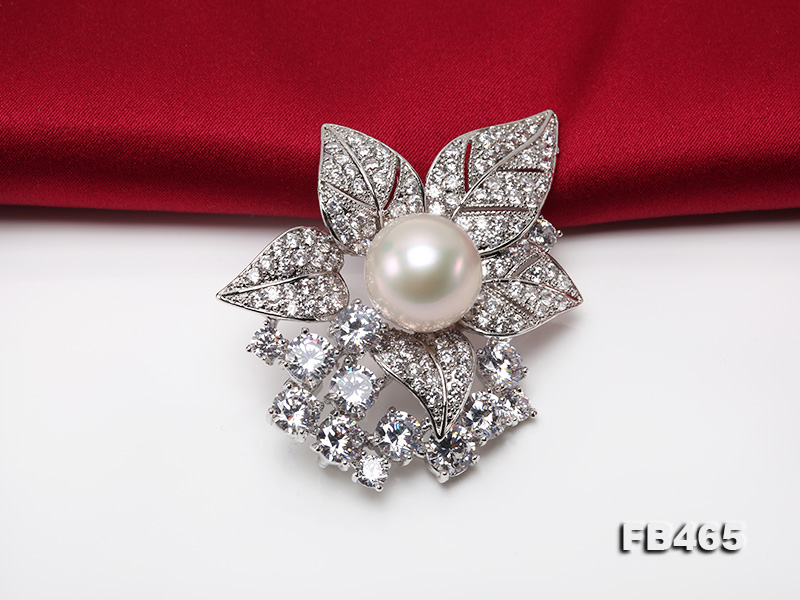 Lustrous 14.5mm White Round Edison Pearl Brooch/Pendant  big Image 8