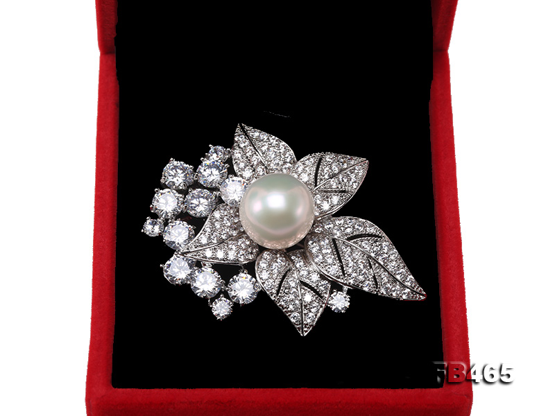 Lustrous 14.5mm White Round Edison Pearl Brooch/Pendant  big Image 9