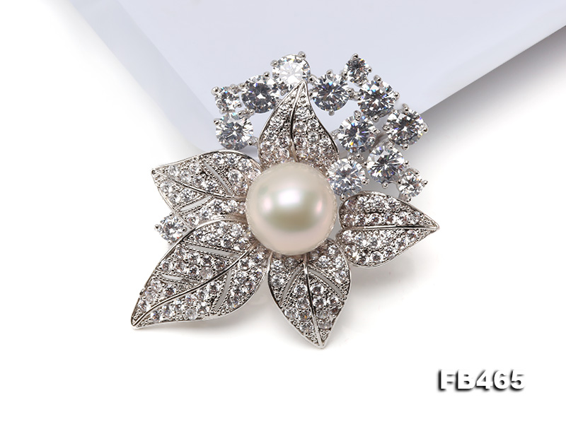 Lustrous 14.5mm White Round Edison Pearl Brooch/Pendant  big Image 10