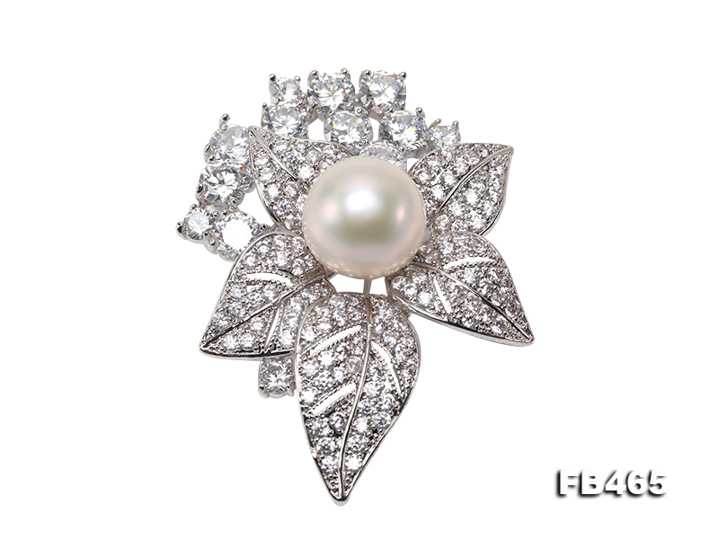 Lustrous 14.5mm White Round Edison Pearl Brooch/Pendant  big Image 1