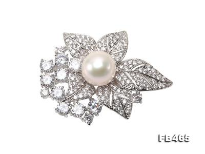 Lustrous 14.5mm White Round Edison Pearl Brooch/Pendant  FB465 Image 3