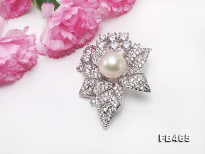 Lustrous 14.5mm White Round Edison Pearl Brooch/Pendant  FB465 Image 4
