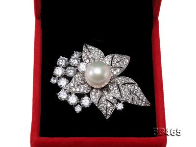 Lustrous 14.5mm White Round Edison Pearl Brooch/Pendant  FB465 Image 9