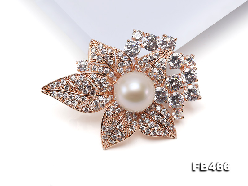 Lustrous 14.5mm White Round Edison Pearl Brooch/Pendant  big Image 3