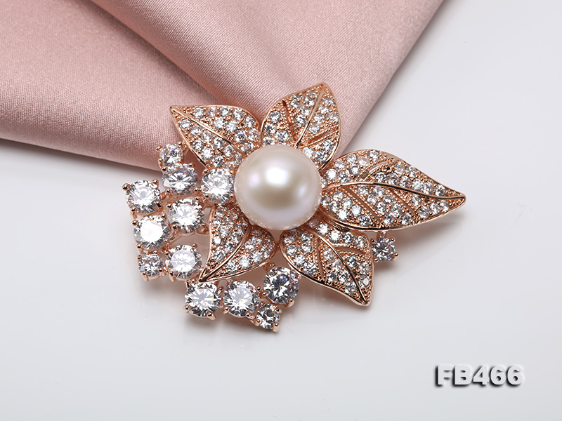 Lustrous 14.5mm White Round Edison Pearl Brooch/Pendant  big Image 7