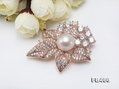 Lustrous 14.5mm White Round Edison Pearl Brooch/Pendant  FB466 Image 4