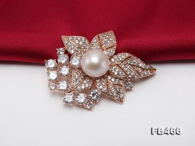 Lustrous 14.5mm White Round Edison Pearl Brooch/Pendant  FB466 Image 5