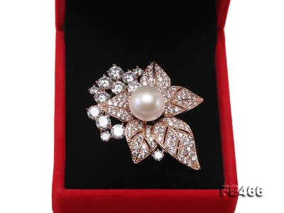 Lustrous 14.5mm White Round Edison Pearl Brooch/Pendant  FB466 Image 8