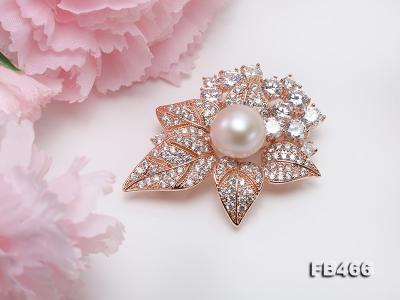 Lustrous 14.5mm White Round Edison Pearl Brooch/Pendant  FB466 Image 10