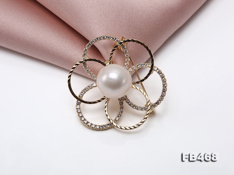 Lustrous 13.5mm White Round Edison Pearl Brooch/Pendant  big Image 5