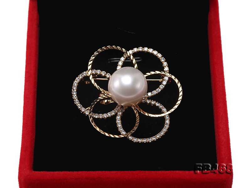 Lustrous 13.5mm White Round Edison Pearl Brooch/Pendant  big Image 6