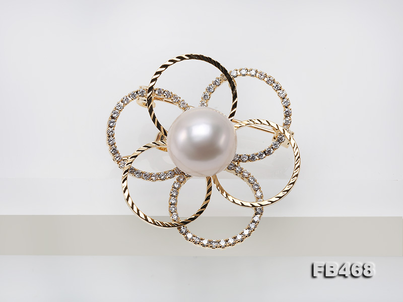 Lustrous 13.5mm White Round Edison Pearl Brooch/Pendant  big Image 7