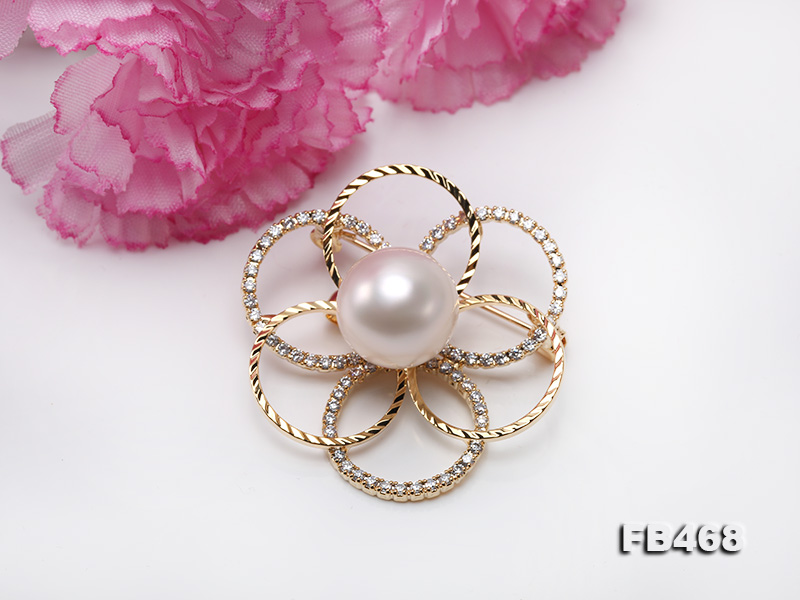 Lustrous 13.5mm White Round Edison Pearl Brooch/Pendant  big Image 8