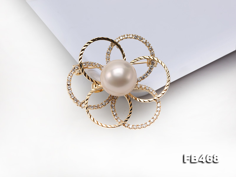 Lustrous 13.5mm White Round Edison Pearl Brooch/Pendant  big Image 10