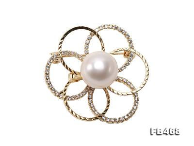Lustrous 13.5mm White Round Edison Pearl Brooch/Pendant  FB468 Image 1
