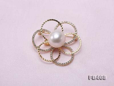 Lustrous 13.5mm White Round Edison Pearl Brooch/Pendant  FB468 Image 3