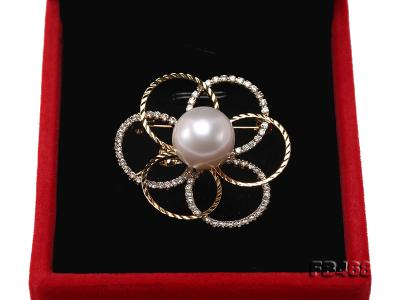 Lustrous 13.5mm White Round Edison Pearl Brooch/Pendant  FB468 Image 6