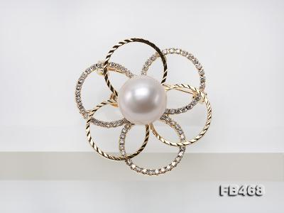 Lustrous 13.5mm White Round Edison Pearl Brooch/Pendant  FB468 Image 7