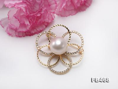 Lustrous 13.5mm White Round Edison Pearl Brooch/Pendant  FB468 Image 8