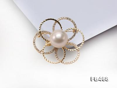 Lustrous 13.5mm White Round Edison Pearl Brooch/Pendant  FB468 Image 10