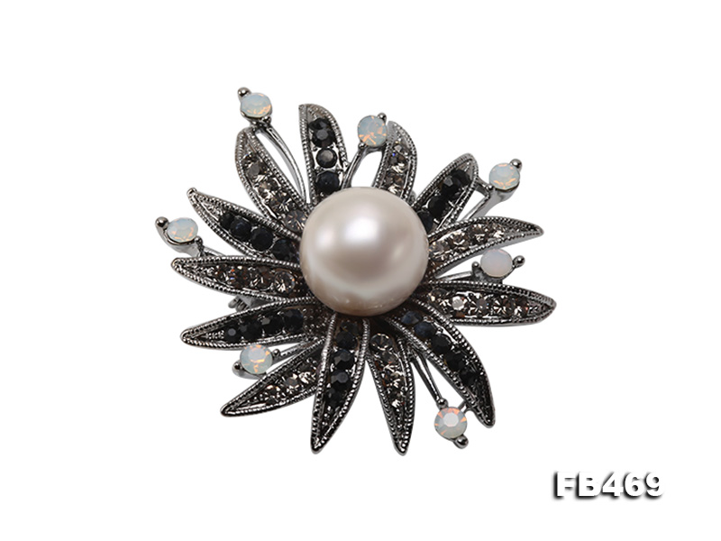 Special 14mm White Round Edison Pearl Brooch big Image 1