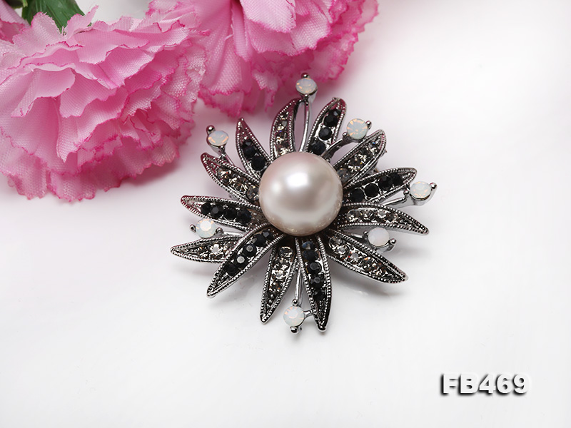 Special 14mm White Round Edison Pearl Brooch big Image 3