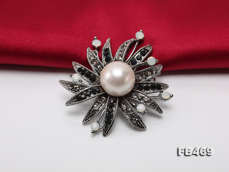 Special 14mm White Round Edison Pearl Brooch big Image 4