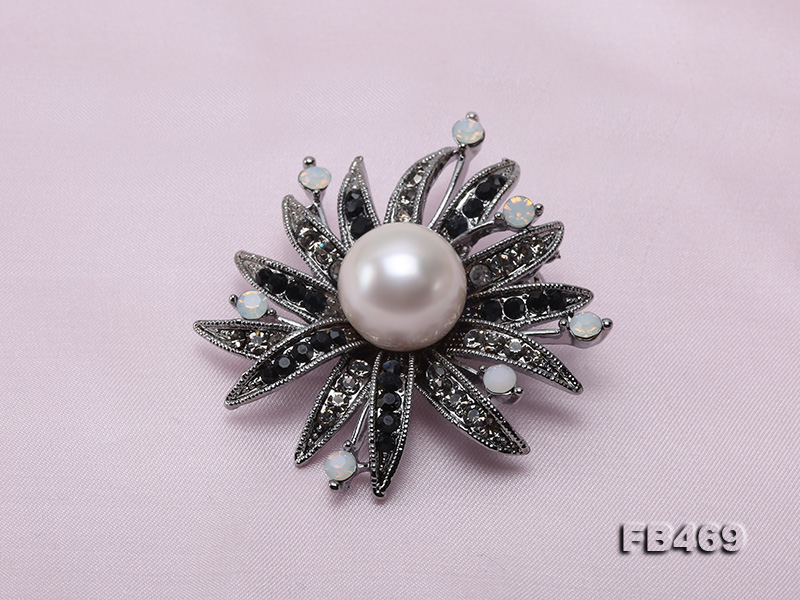 Special 14mm White Round Edison Pearl Brooch big Image 6