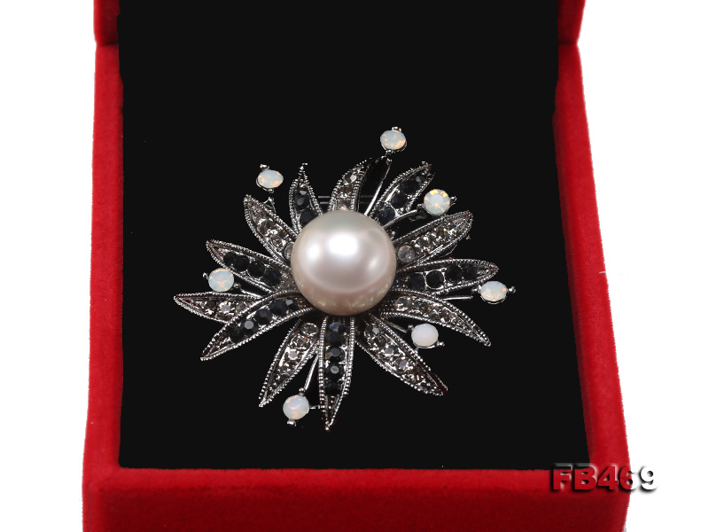 Special 14mm White Round Edison Pearl Brooch big Image 8