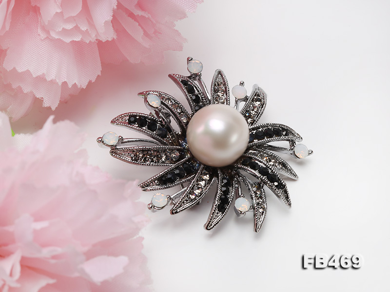 Special 14mm White Round Edison Pearl Brooch big Image 9