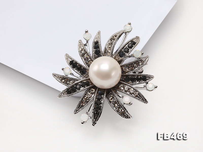 Special 14mm White Round Edison Pearl Brooch big Image 10