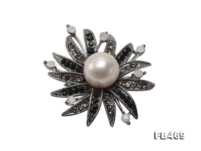 Special 14mm White Round Edison Pearl Brooch FB469 Image 1