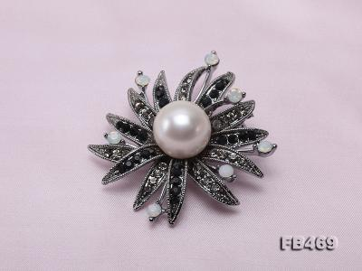 Special 14mm White Round Edison Pearl Brooch FB469 Image 6