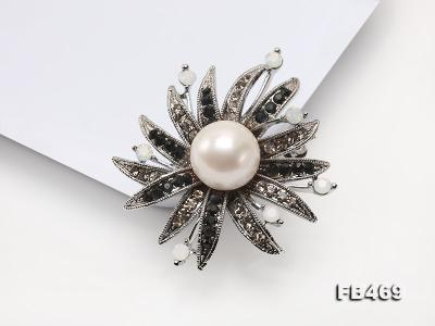 Special 14mm White Round Edison Pearl Brooch FB469 Image 10