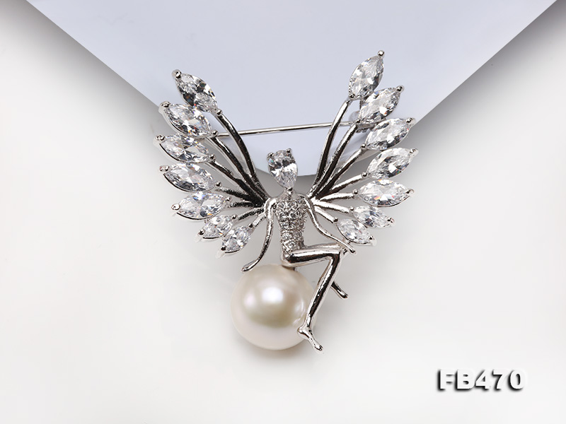 Lustrous 13mm White Round Edison Pearl Brooch big Image 9