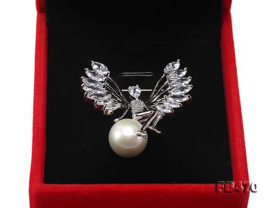Lustrous 13mm White Round Edison Pearl Brooch FB470 Image 4