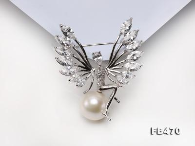 Lustrous 13mm White Round Edison Pearl Brooch FB470 Image 9