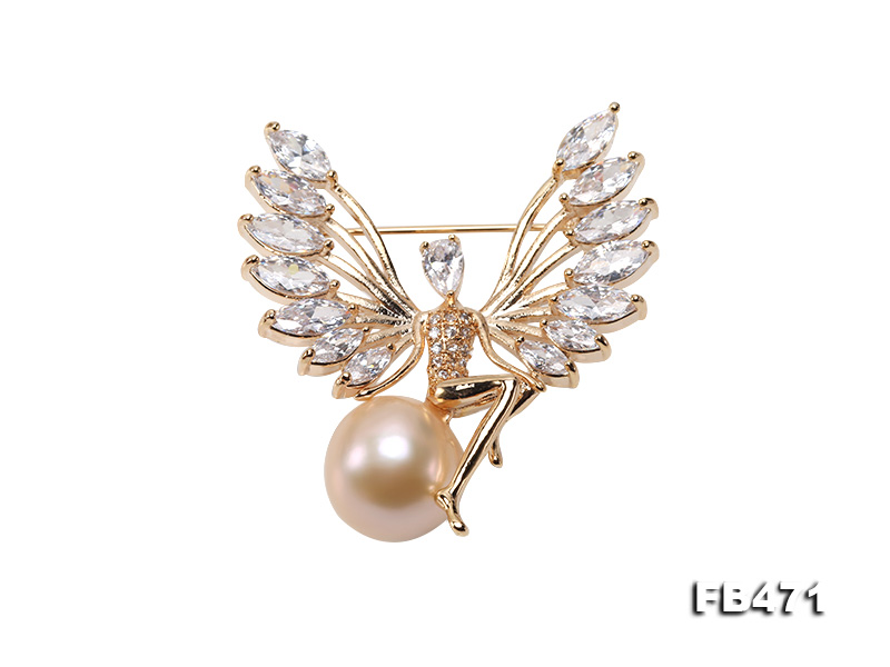 Lustrous 14mm Pink Round Edison Pearl Brooch big Image 1