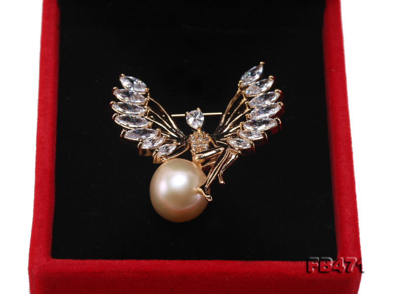 Lustrous 14mm Pink Round Edison Pearl Brooch big Image 3