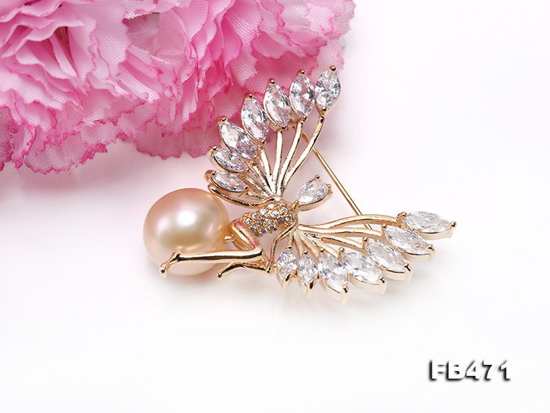 Lustrous 14mm Pink Round Edison Pearl Brooch big Image 5