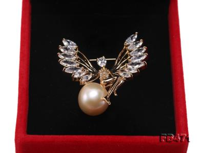 Lustrous 14mm Pink Round Edison Pearl Brooch FB471 Image 3