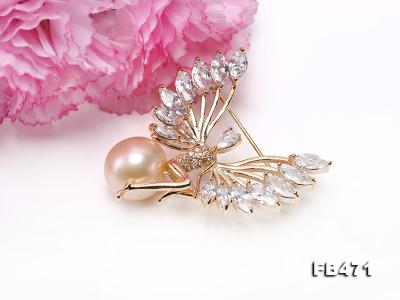 Lustrous 14mm Pink Round Edison Pearl Brooch FB471 Image 5