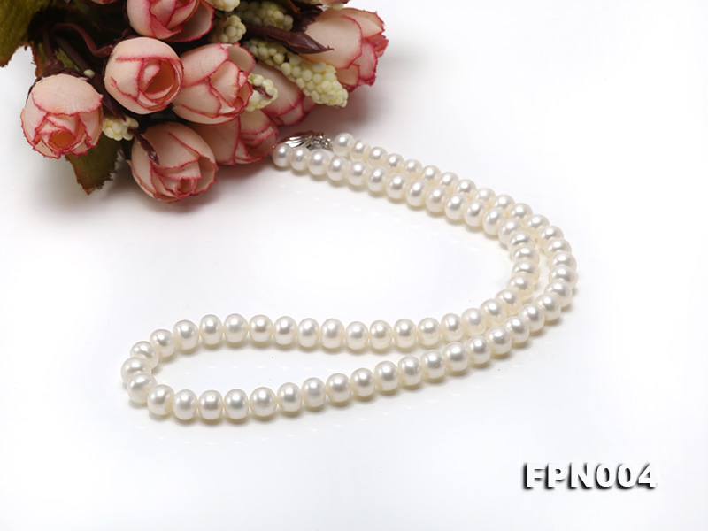 6-6.5mm White Flatly Round Freshwater Cultured Pearl Necklace big Image 7