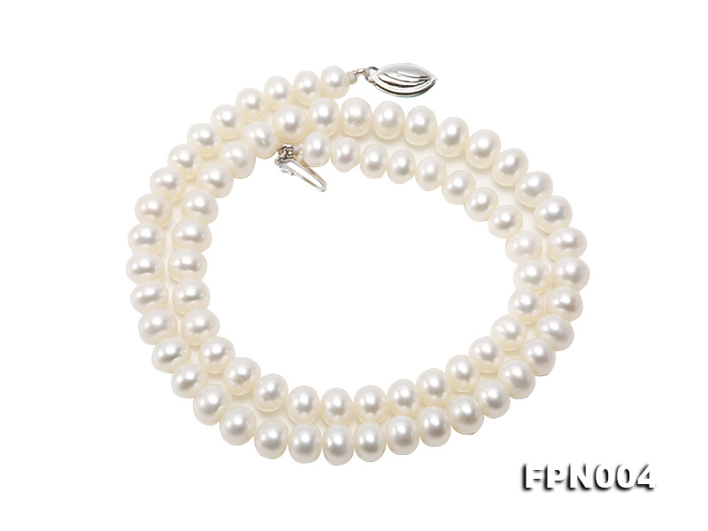 6-6.5mm White Flatly Round Freshwater Cultured Pearl Necklace big Image 8